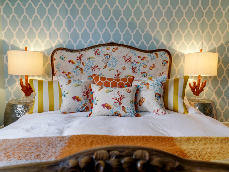 Dazzling seaside colours in the master bedroom at Hillside Cottage in Port Isaac