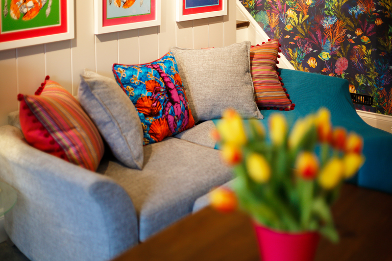 Pops of colour throughout the ground floor at Hillside Cottage, Port Isaac